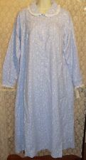 Lanz of Salzburg M XL LONG Flannel Nightgown Soft Cotton Blue White Country Prnt