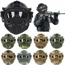 Tactical Airsoft All-round Fast Helmet w/Protective Face Mask Googles &G4 System