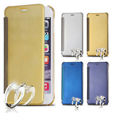 Clear View Mirror Flip Cover Case Slim Leather Hard PC Back For Apple iPhone