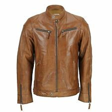 Mens Real Leather Timber Brown Fitted Biker Style Jacket Zipped Pockets Retro