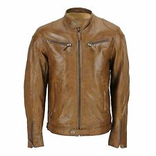 Mens Real Leather Fitted Brown Biker Style Jacket Zipped Pockets Retro
