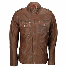 Mens Vintage Real Soft Leather Brown Biker Jacket Casual Zipped Pocket Retro