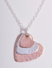 STERLING SILVER & COPPER HAMMERED HEARTS TRIPLE HEART CHAIN NECKLACE 925