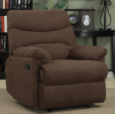 Recliner Chair Chaise Media Room Furniture Microfiber Upholstered Brown Home New