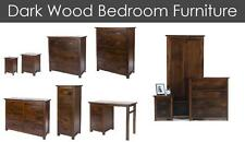 Dark Wood Brown Bedroom Furniture Set Antique Pine Wardrobe Chest Bedside