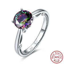 Free Gift Box AAA Rainbow Topaz 100% S925 Sterling Silver Ring Size L½ N½ P½ R½