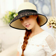 New Lace+Straw Women Wide Brim UV Sun Hat Summer Beach Cap Outdoor Fishing Hats