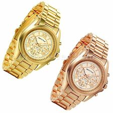 Luxury Mens Womens Quartz Stainless Steel Roman Numeral Dial Analog Wrist Watch