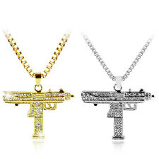 Uzi Sub Gun Pistol Gold Silver Crystal Chain Hip Hop Pendant Necklace Iced Out
