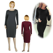 WOMENS LADIES LONG SLEEVE MIDI DRESS STRETCH BODYCON PLAIN JERSEY Wiggle Pencil