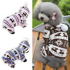 Pet Dog Cat Winter Snowflake Fleece Warm Clothes Hoodie Coat Jacket Puppy Outfit