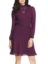 Ex Chainstore Purple Dobby Spotted Vintage High Neck Lace Dress - Size 12 & 14