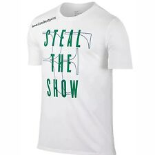 NIKE NEW MENS STEAL THE SHOW RF ROGER FEDERER TENNIS T-SHIRT NWT WHITE DRY-FIT