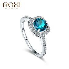 18K White Gold Plated Aquamarine Crystal Ring Women Wedding Fashion Jewelry