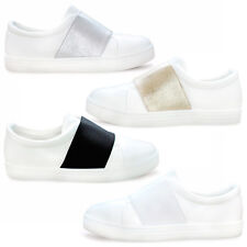 GIRLS FLAT SLIP ON PLIMSOLLS PUMPS CANVAS WOMENS TRAINERS LADIES SHOES SIZE 3-8