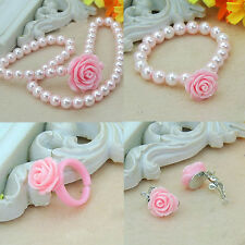 Kids Girl Pearl Flower Shape Necklace Bracelet Ring Ear Studs Clips Jewelry Set