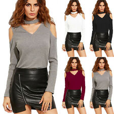 Women Long Sleeve Cut Out Off Shoulder V Neck T-Shirt Casual Blouse Slim Tops
