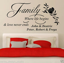 Wall Quote Family where life begins Vinyl Sticker Art Mural Home Decal SVIL06