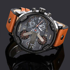 Fashion Mens Big Face  Leather Strap Date Analog Quartz Wrist Watches GiftS