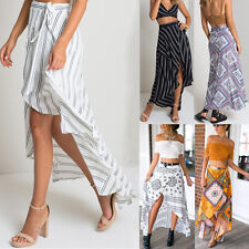 Gypsy Boho Tribal Floral Skirt Maxi Summer Beach Long Casual Skirt Stripe Dress