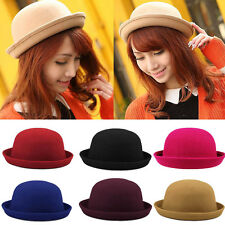 Trendy Wool Blend Hats Bowler Derby Fedora Fashion Style Caps for Ladies Girls