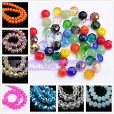 50pcs 6mm Rondelle Faceted Jewelry Finding Multicolor Crystal Glass Loose Bead