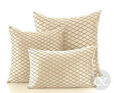 Diamond Check Velvet Cream Cushions - Soft Scatter Small & Large Cushion Cover