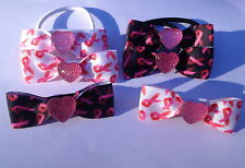 Cancer Charity Pink Ribbon Hair Bows Run For Life Bobble Elastic Alligator Clip
