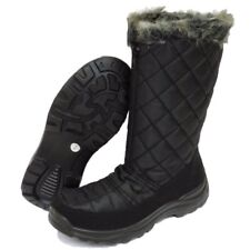 WOMENS BLACK ZIP-UP WARM WINTER SNOW RAIN SKI ICE LINED BOOTS SHOES SIZES 3-8