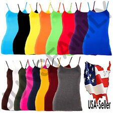 Womens Camisole CAMI Layering Adjustable Spaghetti Strap Solid Basic Tank Top OS