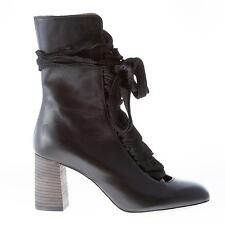 CHLOE' women shoes Harper black leather ankle boot lace-up front thick ribbons
