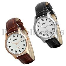 Fashion Quartz Date Leather Band Watches Mens Womens Sport Analog Wrist Watch
