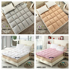 New Single Double Queen King Feather Fabric Mattress Topper/Protecter Plain 1pc