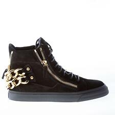 GIUSEPPE ZANOTTI women shoes Black suede high-top sneaker gold-tone zip chains
