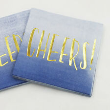 ✧ Gold Foil Print 'CHEERS!' Blue Ombre Napkins ✧ Party Lounge ✧ Pack of 10 ✧