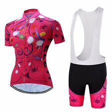 2017 TELEYI Women Cycling Jersey Short Sleeve Pad Bib Shorts Bicycle Sportswear