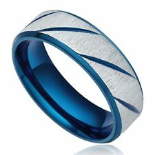 7mm Blue 316L Stainless Steel Dome Ring Comfort Fit Wedding Band Men's Jewelry