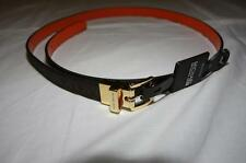 Authentic Michael Kors 0.8 inch Wide  MK Brown Leather Reversible Belt 551507