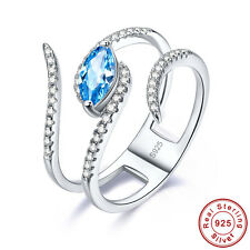 Free Gift Box Swiss Blue Topaz 100% S925 Sterling Silver Ring Size L½ N½ P½ R½