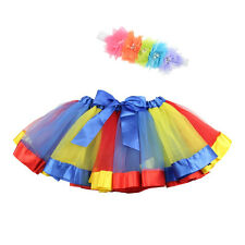 Girls Layered Rainbow Tutu Skirt Dance Party Ballet Party Ruffle Dress 0-10Y