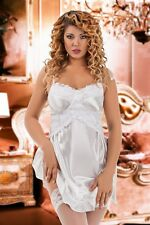 Bridal satin sexy Babydoll Lace Lingerie Off Shoulder Plus Size S-6XL chemise 40