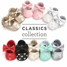 Infant Crib Shoes Toddler Baby Girls Bowknot Soft Sole Anti-slip Sneakers 0-18M