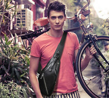 Men Leather Casual Crossbody Shoulder bag Messenger Sling Fanny Pack Chest Bag