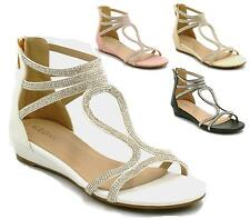LADIES WOMENS LOW WEDGE FAUX LEATHER SANDALS WEDDING EVENING FORMAL SHOES SIZE