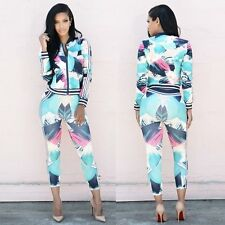 2Pcs Women Zipper Tracksuit Hoodies Sweatshirt Pants Sets Sport Wear Casual Suit