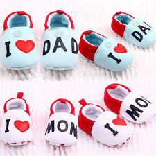 Cute Toddler Baby Girl Boy Round Toe Flats Soft Slippers Shoes I Love MOM/DAD