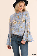 Umgee Top Size S M L Long Bell Sleeve Blouse Button Down Tunic Floral Print BLUE