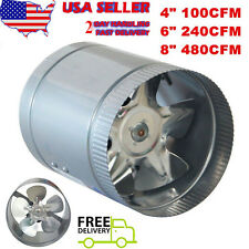 """2017 4"""" 6"""" 8"""" Inch Booster Fan Inline Blower Exhaust Ducting Cooling Vent HPS US"""