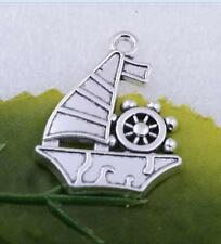 Wholesale 5pcs/10pcs/50pcs tibet silver sailing ship charm pendant craft jewelry