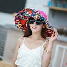 Women's Sun Hat Large Brim Cap Canvas Cloth Wide Brim Foldable Casual Beach Hat
